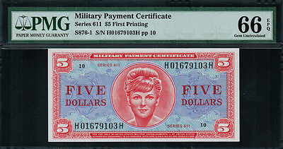 Military Payment Certificate - MPC - Series 611 $5 First Printing - PMG 66 EPQ