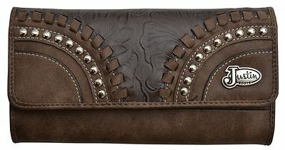 Justin Boots Ladies BROWN Tooled faux Leather Laced Wallet Billfold Clutch