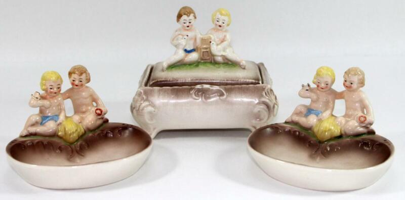 Rare Hummel Incised Crown Mark U.S. Zone Tobacco Humidor Jar Box & Ashtrays