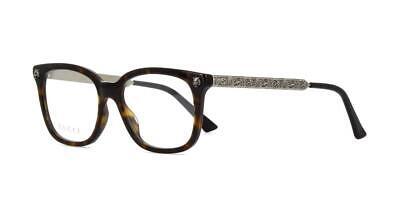 Gucci GG0218O 002 Havana & Antique Silver Brille Frames Glasses Eyeglasses 51mm