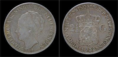 Netherland Wilhelmina I 2 1/2 gulden(rijksdaalder)1932