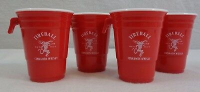 FIREBALL Whiskey Party Cup Sidecar Shot Glass, Red Solo Cup (4-Pack)](Plastic Shot Glasses Wholesale)
