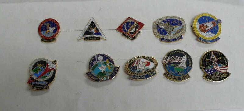 10 NASA Space Shuttle Launch Team Pins STS 37, 38, 40, 42, 44-47, 50, 51