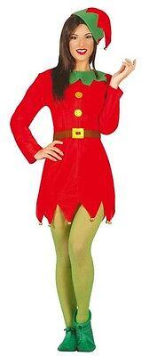 Damen Sexy Weihnachten Santa's Helfer Elfen Kostüm Kleid Outfit 12-14 16-18