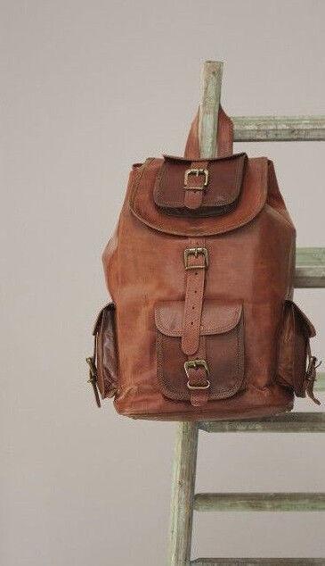 """20"""" Large Genuine Leather Back Pack Rucksack Travel Bag For"""