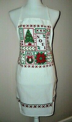 Vintage Aprons, Retro Aprons, Old Fashioned Aprons & Patterns Vintage 1992 B&D White Heavy Cotton Twill Full Kitchen Apron Christmas Design $9.99 AT vintagedancer.com