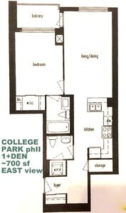 COLLEGE AND BAY -1+DEN $1925 AVAIL NOW -PARKING INCL