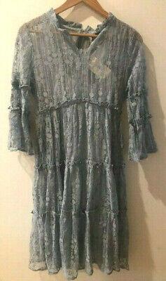 SUNDANCE CATALOG Ellery Lace Dress Dusty Blue SMALL Orig $168 NWT