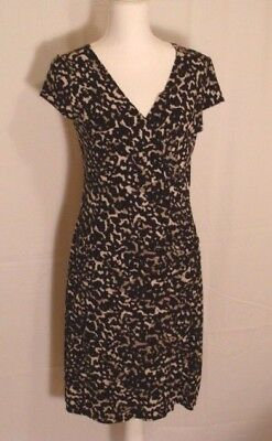 New Ann Taylor Faux Wrap Animal Print Short Sleeve Dress Size M Nwt