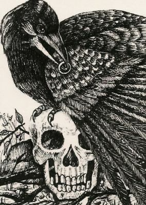 ACEO PRINT OF DRAWING CROW GOTHIC HALLOWEEN SKULL ART RYTA CEMETERY MORBID DARK - Halloween Cemetery Drawings