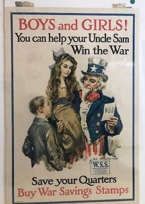 """James M. Flagg WWI Original Poster """"BOYS and GIRLS! You can help your Uncle Sam. for sale  Potomac"""
