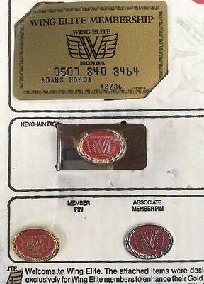 HONDA GOLD WING ELITE MEMBERSHIP CARDS PIN MONEY CLIP SET - VINTAGE