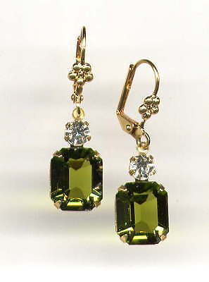 GORGEOUS Earrings with Swarovski OLIVE OLIVINE Green cut-crystals 14K Gold gp