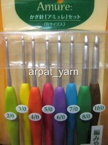 NEW-Lot-8-Clover-Amure-Soft-Touch-Crochet-Hook-size-2-6-mm-Gift-Box