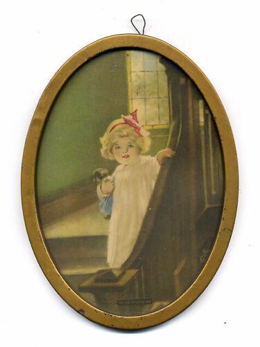 Antique Bessie P Gutmann Oval Framed Print GOOD MORNING