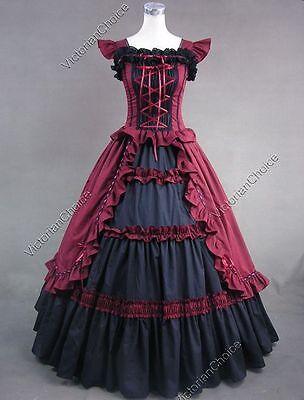 Victorian Gothic Fairytale Southern Belle Vampire Dress Halloween Costume 085 - Women's Victorian Vampire Goth Dress Halloween Costume
