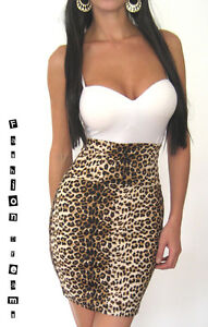 leopard print high waisted rockabilly fitted stretch mini