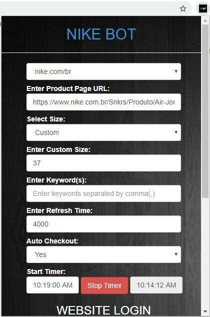 Nike Chrome Extension Bot