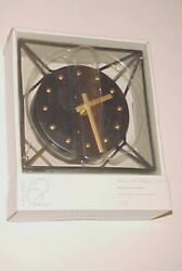 Target Project 62  Metal Black Brass Wire Designer Wall or Table 6 Clock New
