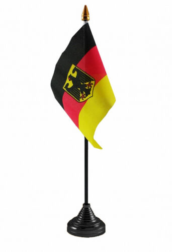 """GERMANY eagle TABLE FLAG 6"""" X 4"""" with base & pole GERMAN MUNICH Berlin Flags"""