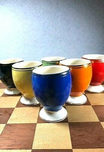 Vintage lot 6 Ceramic Egg Cups from Romania all Different Colors original box