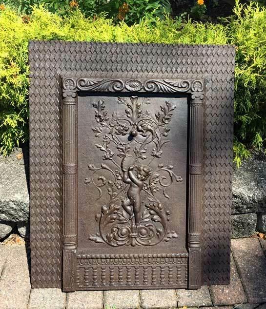 antique  Iron FIREPLACE COVER /screen Figural  Cherub w/ Tambourine