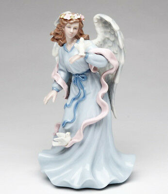 ♫ New MUSIC BOX Porcelain ANGEL DOVE MUSICAL FIGURINE Amazing Grace BIRD Statue Angel Musical Music Box