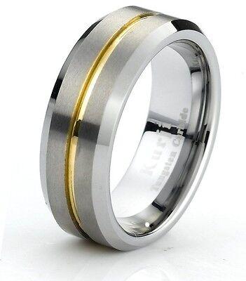 Tungsten Carbide Gold Center Wedding Ring With Beveled Edge and Brushed - Brushed Finish Beveled Edges