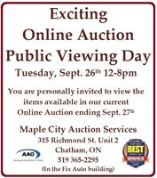 Online Auction *Public Viewing Day* Tuesday Sept 26, 12-8pm