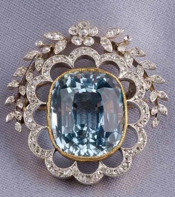 2.54ct ROSE CUT DIAMOND BLUE TOPAZ VICTORIAN LOOK 925 SILVER VALENTINE BROOCH