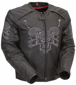 Reflective Skulls Armoured Leather Motorcycle Jacket