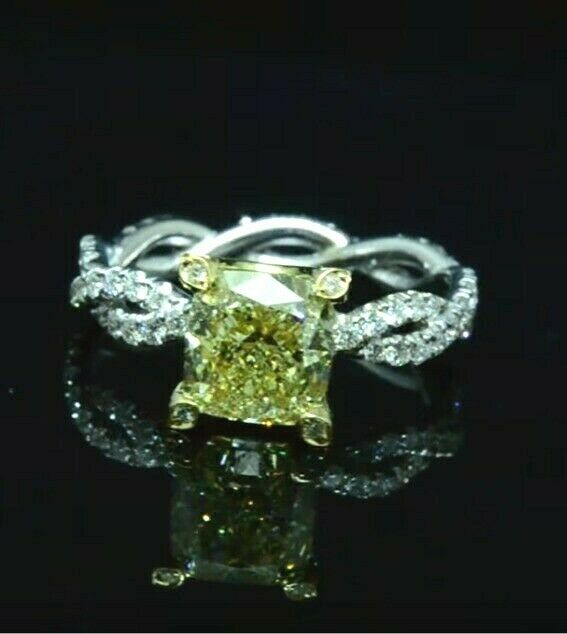 2.20 Ct. Cushion Cut Fancy Light Yellow Diamond Halo Engagement Ring IF GIA 18K 2
