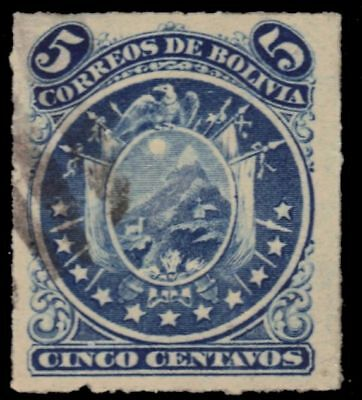 "BOLIVIA 26 (Mi24) - National Coat of Arms ""1887 Roulette"" (pa73894)"