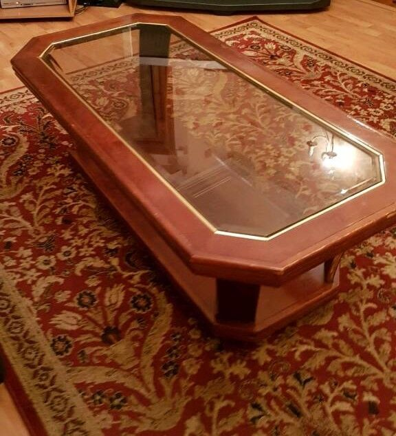 Beautiful Antique Dark Wooden Coffee Table With Original Glass - over 25 years old