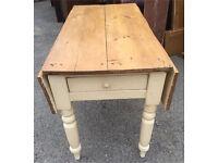 Victorian drop leaf pine scrub top table