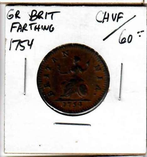 Great Britain Farthing 1754 - Nice VF