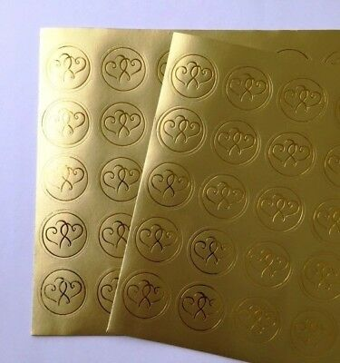 100-Double Heart Gold Foil Wedding Invitation Round Envelope Stickers - Gold Wedding Invitations
