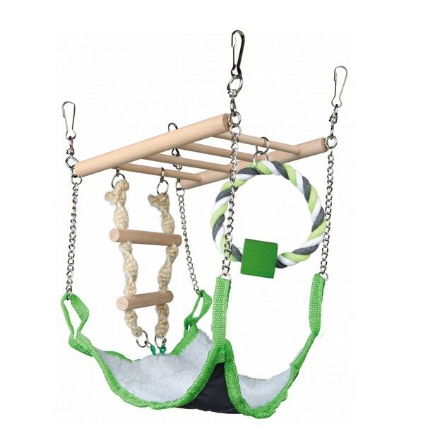 Hamster Toy SUSPENSION BRIDGE LADDER HAMMOCK ROPE TOY Activity Centre 17×22×15