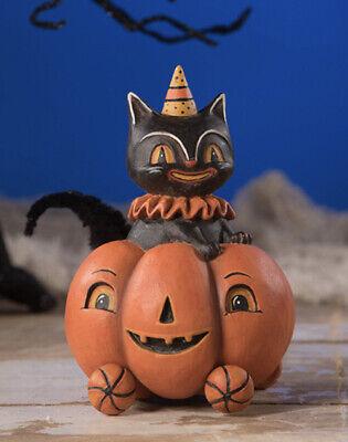 Bethany Lowe Johanna Parker Halloween Black Cat Jet In Jacko On Wheels-retired