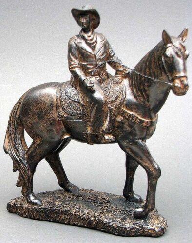 "Cowboy Figurine Atop Horse Western Statue Rustic Bronze 9"" Ranch Cabin Den Decor"