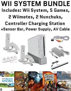 Wii SYSTEM BUNDLE - with 5 Games, 2 Wiimotes, 2 Nunchuks, more