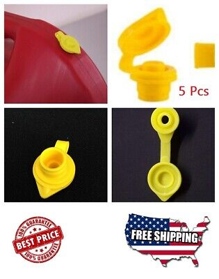 5 Pcs Yellow Fuel Gas Can Jug Vent Cap Ft Plastic And Metal Jugs Made In The Usa