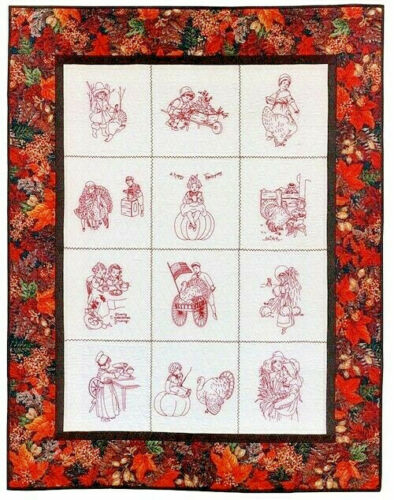 """Thanksgiving Blessings Iron-On Embroidery Transfers-10"""" Blocks"""