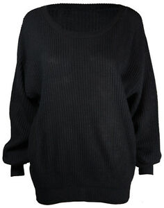 Ladies New Plain Chunky Knit Jumper Tops Womens Long Sleeve Knitted Top 8 - 16