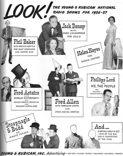 Young & Rubicam National Radio Show FRED ASTAIRE Stoopnagle & Budd 1936 Print Ad