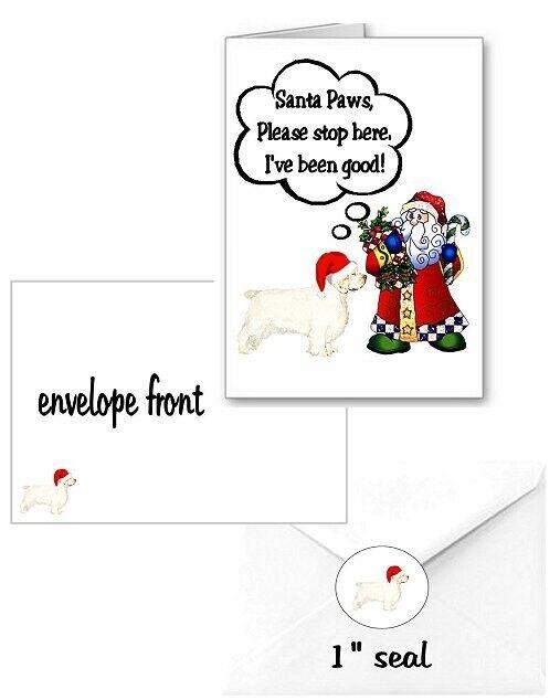 30 Clumber Spaniel Christmas cards seals envelopes 90 pieces Santa Paws design
