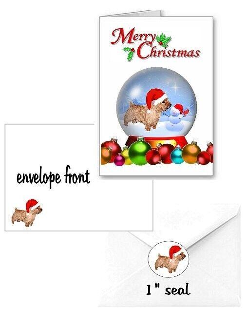 30 Norwich Terrier Christmas cards seals envelopes 90 pieces snow globe design