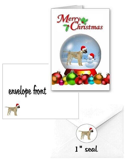 30 Border Terrier Christmas cards seals envelopes 90 pieces snow globe