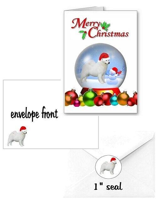 30 Samoyed Christmas cards seals envelopes laser 90 pieces snow globe design