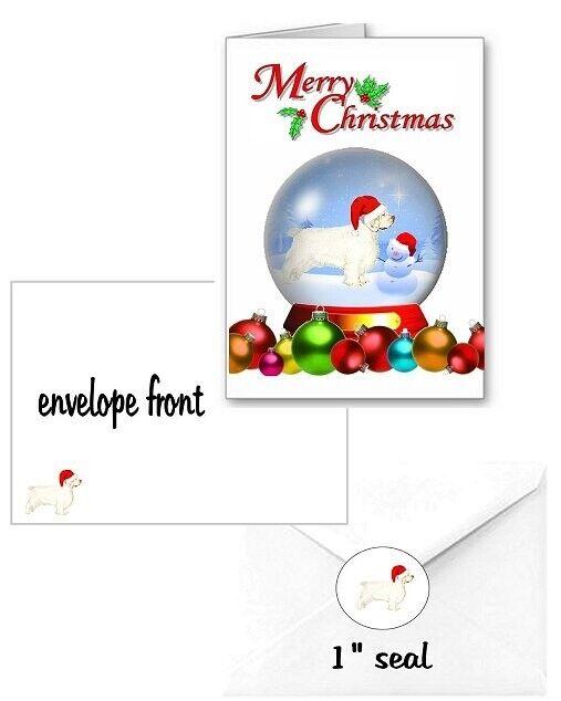 30 Clumber Spaniel Christmas cards seals envelopes 90 pieces snow globe design